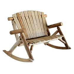 Lakeland Mills Cedar Log Rocking Love Seat, Natural