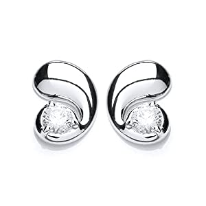 Rocio Illumini Cassiopeia Rhodium Plated Silver White Swarovski Zirconia Stylish Stud Earrings