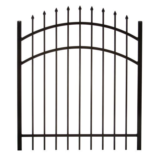 DIY Fence GR1483A048ARCHBL Specrail Branford Aluminum Arched 3-Rail Fence Walk Gate with Hardware, 48 by 48-Inch