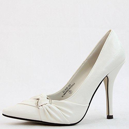 Women's Damita K Elsie-04 Cream Color Pointy Pumps Shoes, Cream, 6