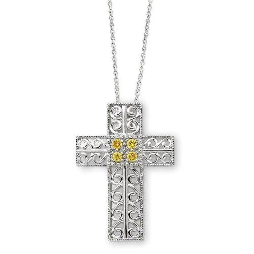 Sterling Silver November Birthstone Cross Sentimental Expressions Necklace