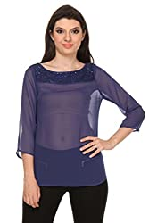 Oyshi Women's Self Design Top (DB1004L, Dark Blue, Large)