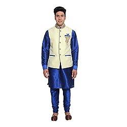 Favoroski Men White silk Blend Waistcoats