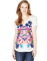 Pure Cotton Mirror Parrot Print T-Shirt