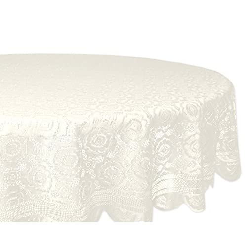 DII Home Essentials 100% Polyester, Machine Washable, Shabby Chic, Vintage Tablecloth or Overlay 63