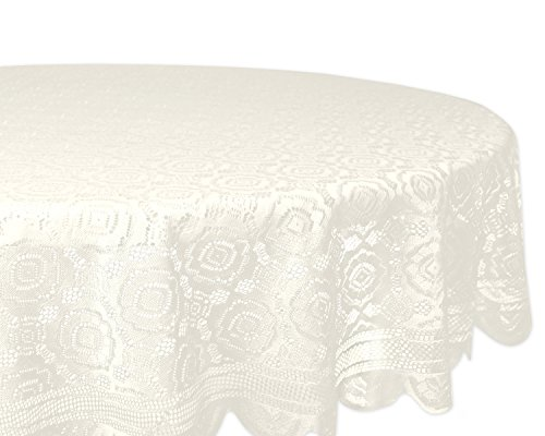 "DII Home Essentials 100% Polyester, Machine Washable, Shabby Chic, Vintage Tablecloth or Overlay 63"" Round, Vintage Lace Cream"