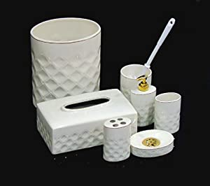 7 pcs ceramic bathroom set lotion dispenser soap dish for Ceramic bathroom bin