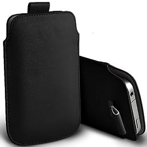 ONX3 Alcatel One Touch Idol S protection en cuir PU tirer le cordon glisser Housse de dégagement rapide (Black)