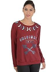 Bonhomie Women Sweatshirts [BONSW12_Burgundy_Extra Large]