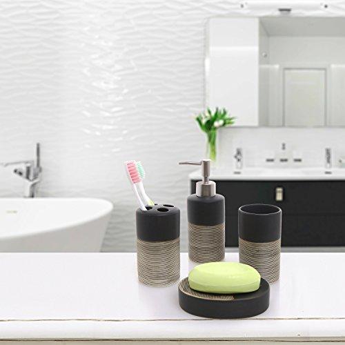 Deluxe 4 piece black beige ceramic bathroom set w soap for Beige bathroom accessories set