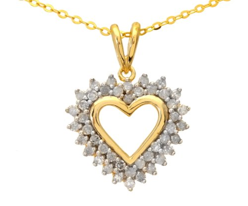 9ct Yellow Gold Diamond Ladies' Heart Pendant and 46cm Chain
