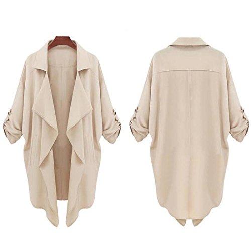 Windbreaker Tops,Hemlock Women's Lady Celebrity Cardigan Jacket Button Sleeve Coat Loose Blouse Casual Outwears (L, Khaki)