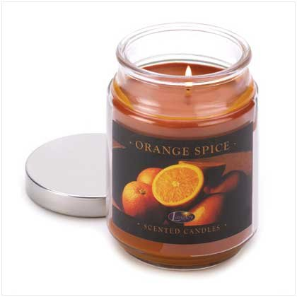 Orange Spice Cinnamon Clove Scented Glass Jar Candle