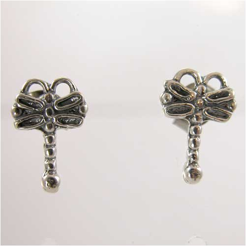 Tiny Dragonfly Post Earrings in Sterling Silver, #11359