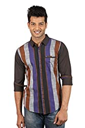 Le Tailor Men's Slim Fit Casual Stripes Shirt ( SLCFS104,Black & Purple,XL )