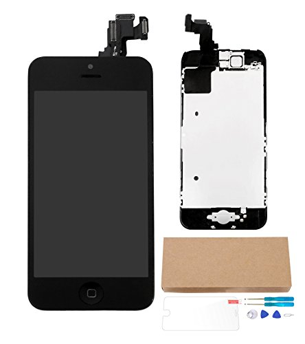 Wellfix Digitizer Full Assembly for iPhone 5C 4.0 Inch LCD Display Touch Screen Replacement with Components Home Button + Facing Proximity Sensor + Ear Speaker + Front Camera + Repair Tools,5C Black (Iphone 4 Replacement Camera Front compare prices)