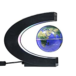 MAGNETIC LEVITATION FLOATING GLOBE ROTATING IN MIDAIR ANTI-GRAVITY GLOBE WITH MULTICOLOR LED LIGHTS FOR NOVELTY TOYS GIFT HOME OFFICE DESK DECORATION
