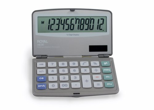 Royal Machines XE36 Calculator with 12 Digit Display, Extra Large Display, Solar and Battery Power