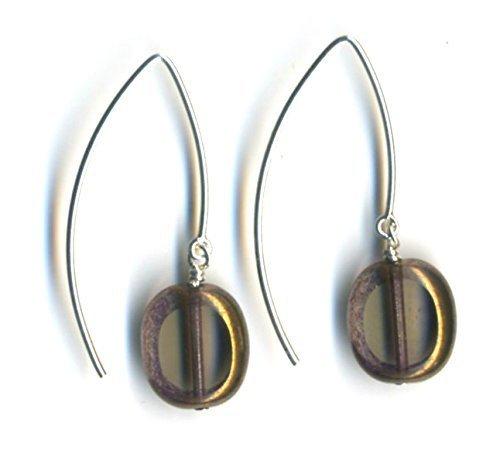 Glass Bead Oval Drop Earrings Black Diamond, Sculptural Dangle Earrings, Sterling Silver