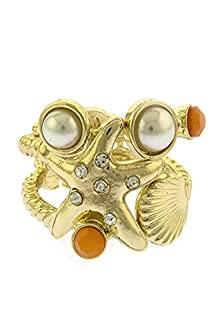buy Trendy Fashion Jewelry Starfish Accent Ring By Fashion Destination | (Gold/Orange)