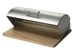 Zeller 20475 Boite à pain inox/hévéa, 39 x 29 x 17 cm