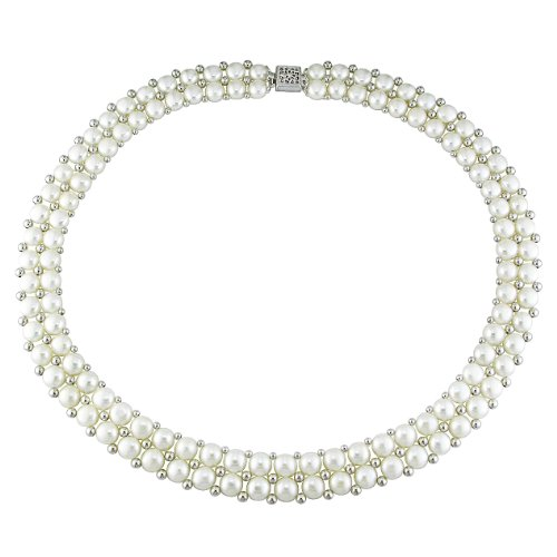 Sterling silver 6-7mm white freshwater button pearl necklace, 17 inch