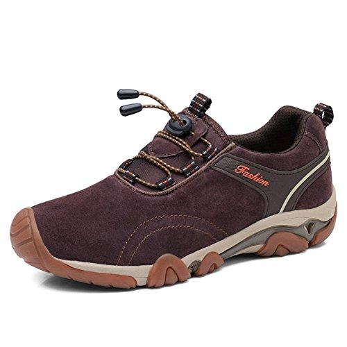 [HONGJING] トレッキングシューズ メンズ 登山靴 ハイキング アウトドア ワーキング カジュアルシューズ キャンプ シューズ スニーカー 出張 旅行 遠足 運動 トラベル オシャレ 耐久性 滑りにくい 歩きやすい 25.5cm ブラウン 褐色