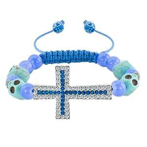 Pugster Sapphire Blue Clear White Crystal Cross Light Skull Purple Beads Adjustable Bracelet