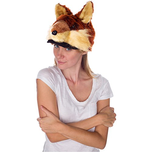 Rittle Furry Red Fox Animal Hat, Realistic Plush Costume Headwear - One Size