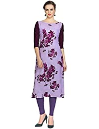 Ziyaa Women's Wine Colour Digital Print Crepe Kurti