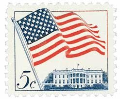 #1208 - 1963 5c 50-Star Flag Postage Stamp Numbered Plate Block (4)