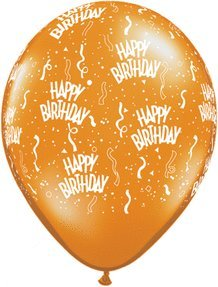 Mayflower Balloons 6224 11 Inch Happy Birthday-A-Round Latex Assortment Pack Of 100