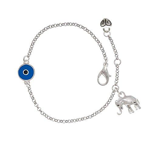Silver Elephant Delicate Evil Eye Bracelet