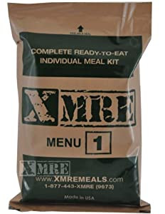X MRE Meals Standard Single Meal with Heater (Meal Ready to Eat Military Type) by XMRE