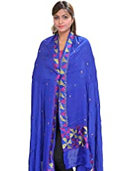 Exotic India Phulkari Dupatta From Punjab With Hand-Embroidered Border And Booti
