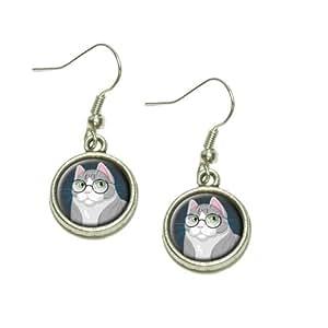 Amazon.com: Sir Cat Wearing Glasses Dangling Drop Charm ...