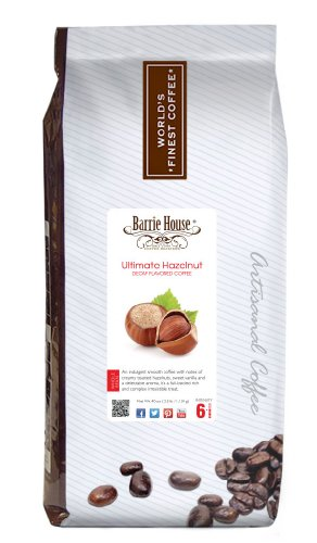 Barrie House Decaf Ultimate Hazelnut Coffee, Whole Bean 2.5 Lb Bag