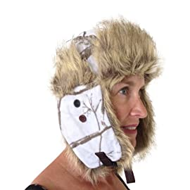 Realtree Snow Trapper Bomber Fleece Winter White Camo Hunting Hat LADIES