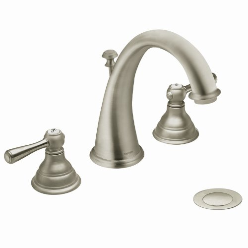 Moen CAT6125BN Kingsley Brushed Nickel Two-Handle High Arc Bathroom Faucet (Valve Not Included)