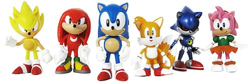 "Sonic Multi Pack 2"" Action Figure (6 Classic Figures - Knuckles, Sonic, Super Sonic, Amy, Metal Sonic and Tails) TRU Exclusive - 1"
