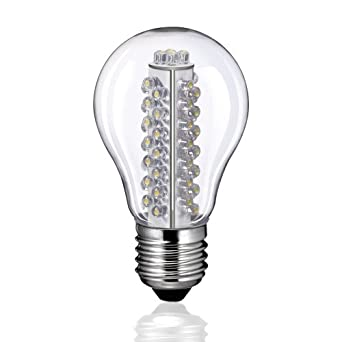 E27 LED Glühlampe in Birnenform mit 60 warm-weißen LEDs von parlat (230 Volt AC, Bulb, Globeform, Glühbirne, Lampe, Leuchtmittel, Energiesparlampe, 230V)