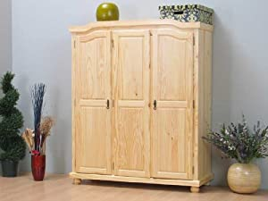 3trg kleiderschrank schrank kiefer massiv k che haushalt. Black Bedroom Furniture Sets. Home Design Ideas