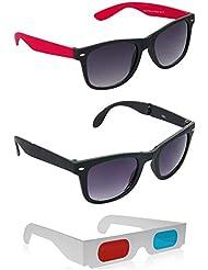 Foldable Black Wayfarer Sunglasses + Black And Red Wayfarer Sunglasses + Free 3D Glasses ( Foldable Black Sunglasses...