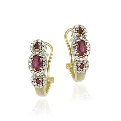 18K Gold over Sterling Silver Genuine Ruby & One Diamond Accent 3 Stone Half Hoops Earrings