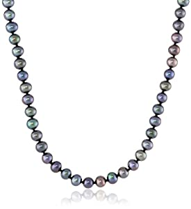 """Peacock Black Freshwater Cultured A Quality Pearl Necklace (5.5-6mm), 16"""""""