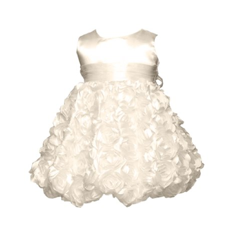 Rosie Girls Party Dress With Rolled Satin Flowers For Infants Fancy Dress Color: Ivory Dress Size: 24M (24 Months)
