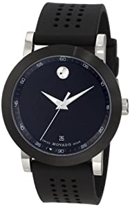 Movado Men's 0606507 Museum Stainless Steel Black Rubber Strap Watch from Movado