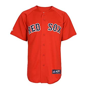 MLB Boston Red Sox Dustin Pedroia Scarlet Alternate Short Sleeve 6 Button Synthetic... by Majestic