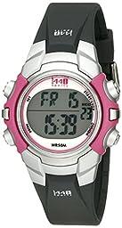 Timex Women\'s T5J151 1440 Sports Digital Black/Pink Resin Strap Watch