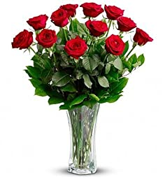 Fresh Cut Flowers - Classic Red Roses Bouquet